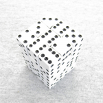 KOP01835 White Opaque Squared Corner Dice Black Pips D6 12mm Pack of 36