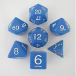 KOP06036 Blue Jumbo Dice with White Numbers D6 24mm (15/16in) Set of 7