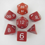KOP06038 Red Jumbo Dice with White Numbers D6 24mm (15/16in) Set of 7