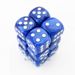 KOP08574 Blue Marbleized Deluxe Dice White Pips D6 16mm Pack of 12