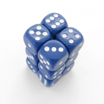 KOP08583 Blue Opaque Deluxe Dice White Pips D6 16mm (5/8in) Pack of 12