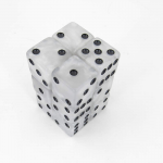 KOP08622 Pearl Marblized Dice with Black Pips D6 16mm (5/8in) Pack of 12