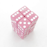 KOP08629 Pink Opaque Dice with White Pips D6 16mm (5/8in) Pack of 12