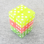 KOP09204 Assorted Glow in the Dark Dice White Pips D6 16mm Pack of 12