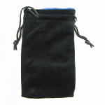 KOP09916 Black Velvet with Blue Lining Large Dice Bag Koplow Games