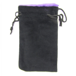 KOP09918 Black Velvet with Purple Lining Large Dice Bag Koplow Games