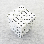 KOP11980 White Opaque Dice with Black Pips D6 12mm (1/2in) Pack of 36 Koplow Games