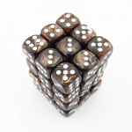 KOP11994 Brown Marbleized Dice White Pips D6 12mm (1/2in) Pack of 36
