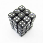 KOP11997 Gray Marbleized Dice with White Pips D6 12mm (1/2in) Pack of 36