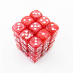 KOP11998 Red Marbleized Dice with White Pips D6 12mm (1/2in) Pack of 36