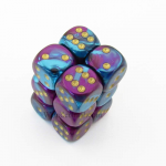 CHX26649 Purple Teal Gemini Dice Gold Pips D6 16mm (5/8in) Pack of 12