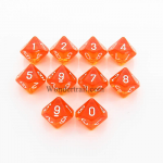 CHX23203 Orange Translucent Dice D10 White Numbers 16mm Set of 10