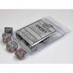 CHX25120 Granite Speckled D10 Dice Red Numbers 16mm Pack of 10
