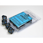 CHX25138 Blue Stars Speckled D10 Dice Blue Numbers 16mm Pack of 10