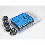 CHX25166 Twilight Speckled D10 Dice Green Numbers 16mm Pack of 10