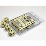 CHX26200 Ivory Opaque Dice D10 Black Numbers 16mm Pack of 10
