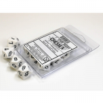 CHX26201 White Opaque Dice D10 Black Numbers 16mm Pack of 10
