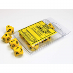 CHX26202 Yellow Opaque D10 Black Numbers 16mm Pack of 10