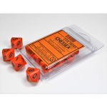 CHX26203 Orange Opaque Dice Black Numbers D10 16mm Pack of 10