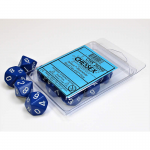 CHX26206 Blue Opaque Dice White Numbers D10 16mm (5/8in) Pack of 10