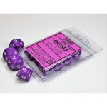 CHX26207 Purple Opaque Dice White Numbers D10 16mm Pack of 10