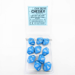 CHX26216 Light Blue Opaque Dice White Numbers D10 16mm Pack of 10