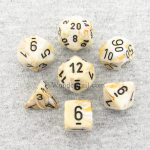 CHX27402 Ivory/Black Marbleized Polyhedral 7-Die Set by Chessex Dice