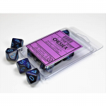 CHX25107 Cobalt Speckled D10 Dice Blue Numbers 16mm Pack of 10