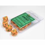 CHX25112 Lotus Speckled D10 Dice Green Numbers 16mm Pack of 10