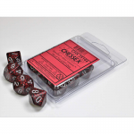 CHX25144 Silver Volcano Speckled Dice Silver Numbers D10 16mm Set of 10