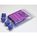 CHX25147 Silver Tetra Speckled Dice Silver Numbers D10 16mm Set of 10