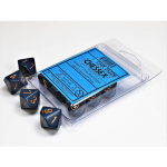 CHX25226 Dusty Blue D10 Dice Copper Numbers 16mm Pack of 10