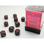 CHX25944 Silver Volcano Speckled D6 Dice Silver Pips 12mm Pack of 36