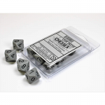 CHX26210 Dark Grey Opaque Dice Black Numbers D10 16mm Pack of 10