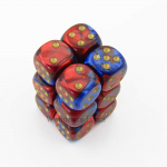 CHX26629 Blue Red Gemini Dice Gold Pips D6 16mm (5/8in) Pack of 12