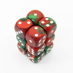CHX26631 Green Red Gemini Dice White Pips D6 16mm (5/8in) Pack of 12