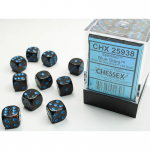 CHX25938 Blue Stars Speckled D6 Dice Blue Pips 12mm (1/2in) Pack of 36
