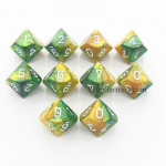CHX26225 Gold Green Gemini Dice White Numbers D10 16mm Pack of 10
