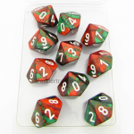 CHX26231 Green Red Gemini Dice White Numbers D10 16mm Pack of 10