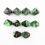 CHX26239 Black Green Gemini Dice Gold Numbers D10 16mm Pack of 10