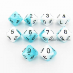 CHX26244 White Teal Gemini Dice Black Numbers D10 16mm Pack of 10