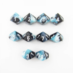 CHX26246 Black Shell Gemini Dice White Numbers D10 16mm Pack of 10