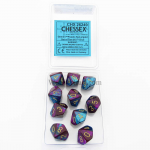 CHX26249 Purple Teal Gemini Dice Gold Numbers D10 16mm Pack of 10