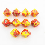 CHX26250 Red Yellow Gemini Dice Silver Numbers D10 16mm Pack of 10