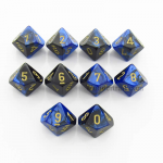 CHX26235 Black Blue Gemini Dice Gold Numbers D10 16mm Pack of 10