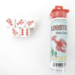 KOP06568 Lobster Dice Game White Opaque with Red Pips (D6) 16mm
