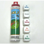 KOP15505 Golf Dice Game White Opaque Dice with Colored Words D6