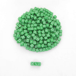 KOP00642 Green Opaque Dice White Pips D6 5mm (13/64in) Pack of 250