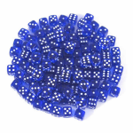 KOP00689 Blue Transparent Dice White Pips D6 5mm (13/64in) Pack of 250