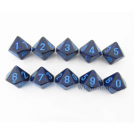 KOP08808 Cobalt Elemental Dice Blue Numbers D10 16mm Pack of 10